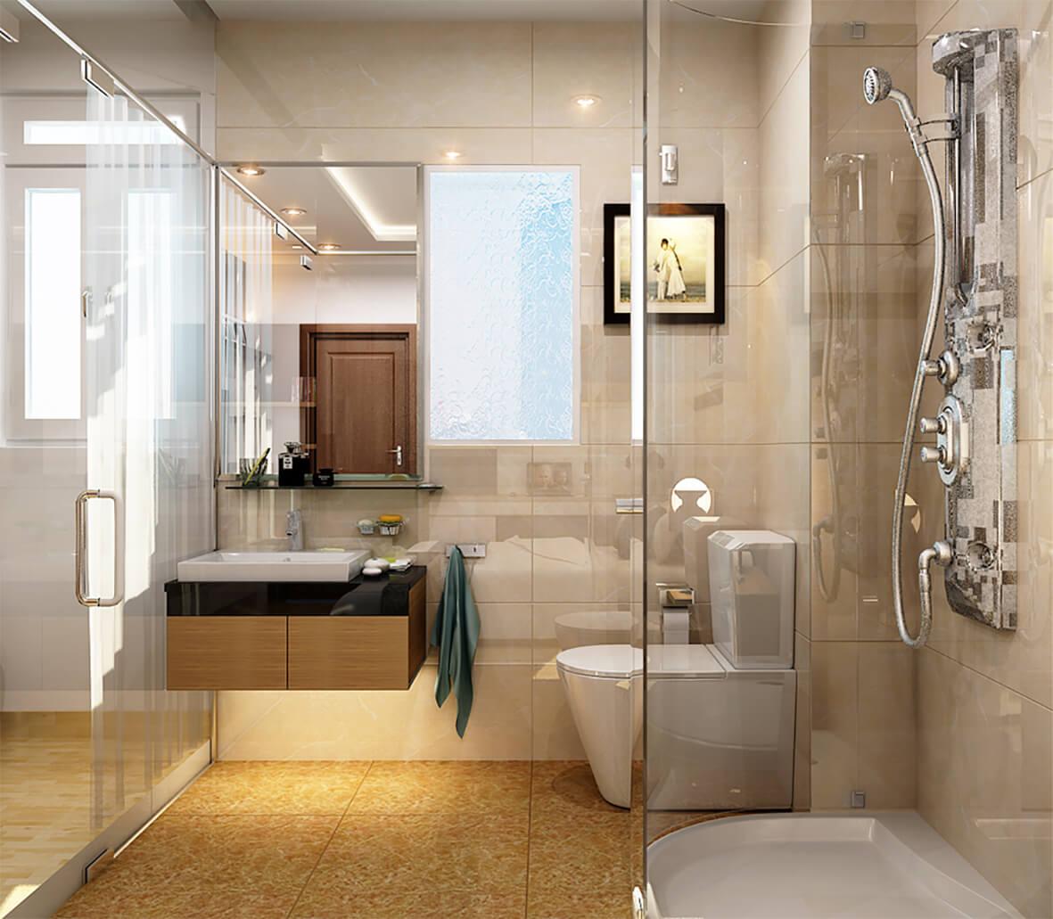 Sửa chữa cải tạo căn hộ với phòng vệ sinh bố trí hợp lý, nội thất hiện đại, sang trọng.
