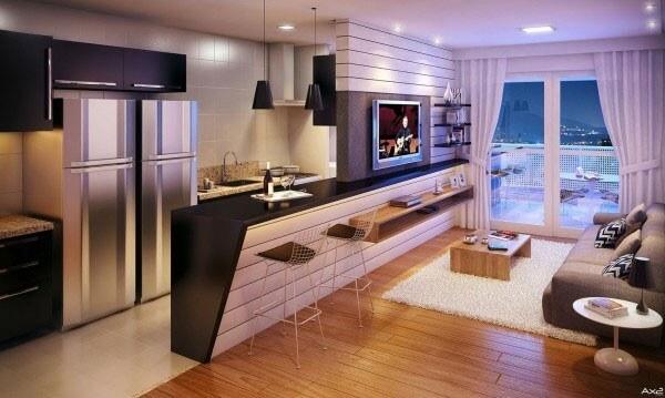 Một vách ngăn khéo léo giữa nhà bếp và phòng khách sẽ biến thành một quầy bar từ bức tường một nửa, sau sửa nhà chung cư này.
