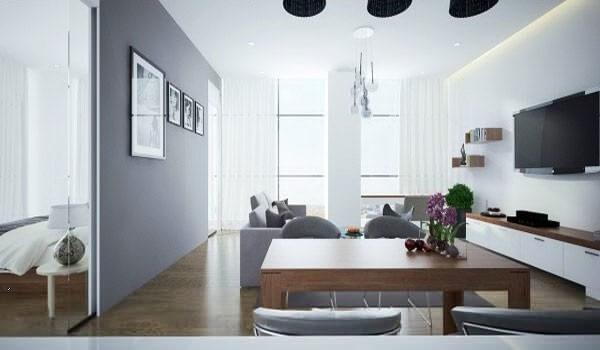 Sửa nhà chung cư với không gian phòng khách được sử dụng cửa trượt bằng kính để phân tách không gian.