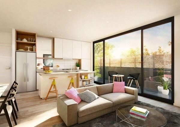 Sau khi sửa nhà chung cư, phòng khách nội thất thấp sàn mang lại vẻ đơn giản mà hiện đại cho không gian mở.