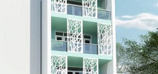 Hình ảnh 3D mặt tiền thiết kế nhà 4 tầng.