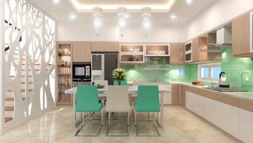 Phòng bếp - bàn ăn ăn trong mẫu thiết kế nhà 4 tầng này tích hợp tô điểm bởi tông màu xanh dịu nhẹ. Vách trang trí như một bức tranh hiện đại, đồng thời tạo được điểm nhấn cho không gian này.