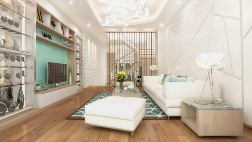 Thiết kế nhà 4 tầng với không gian liên thông khách - bếp.
