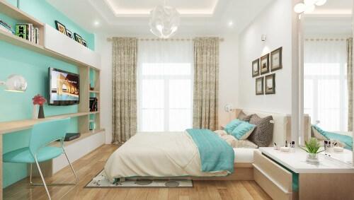 Thiết kế nhà 4 tầng với phòng ngủ master không cầu kỳ, không bày trí nhiều vật dụng, chủ yếu. Cách phối màu tinh tế từ những mảng vật liệu cùng tông màu tạo nên sự đồng điệu và tinh tế.