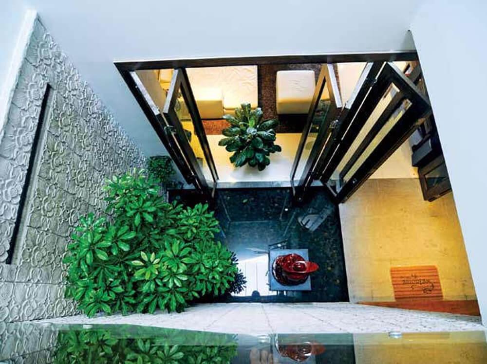 Giếng trời thoáng đãng với nhiều cây xanh trong mẫu thiết kế nhà ống nhỏ hẹp.