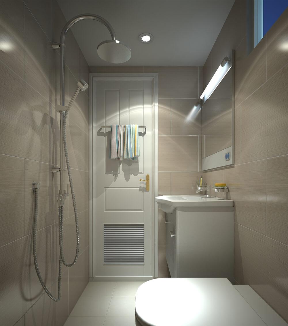 Sử dụng tone màu sáng cho nhà vệ sinh thêm gọn gàng, trong mẫu thiết kế nhà ống hai tầng này