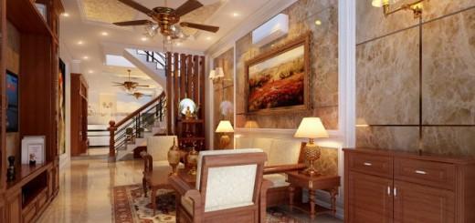 Thiết kế nhà ống với phòng khách theo phong cách nhã nhặn, bán cổ điển với tông màu vàng, trắng và nâu làm cho toàn bộ không gian toát lên vẻ đẹp sang trọng.