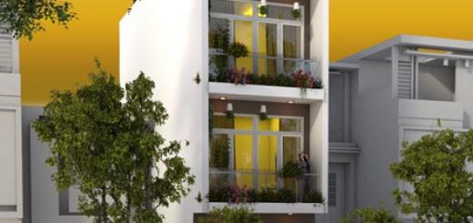 Thiết kế nhà phố với mặt tiền ngôi nhà.