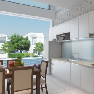 Thiết kế nhà sử dụng tông màu sáng để tạo cảm giác rộng rãi cho ngôi nhà có diện tích hạn chế