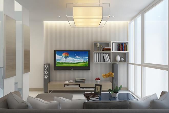 Thiết kế nhà 3 tầng, phòng khách nằm ở tầng lửng nhỏ nhưng phòng khách vẫn đầy đủ các tiện nghi thiết yếu đảm bảo sinh hoạt cho gia đình