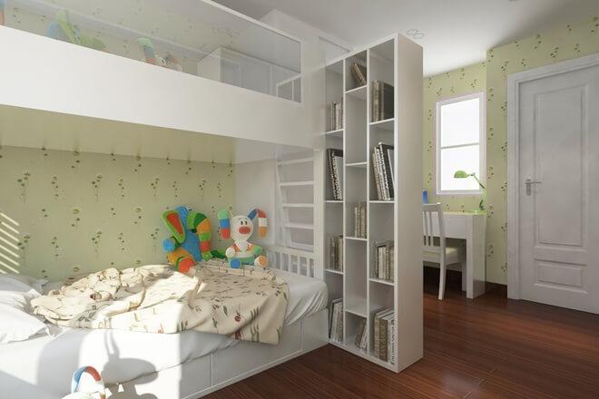 Thiết kế nhà với phòng ngủ hai con ở độ tuổi 9 và 12 nên vẫn sử dụng giường tầng và mỗi bé đều có chỗ học bài, tủ đựng đồ riêng