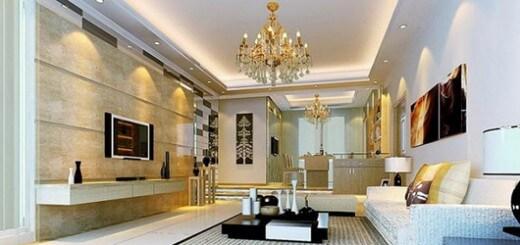 Mẫu thiết kế nội thất phòng khách với mẫu đèn chùm lộng lẫy này sẽ làm cho phòng khách thêm sang trọng và rực rỡ.