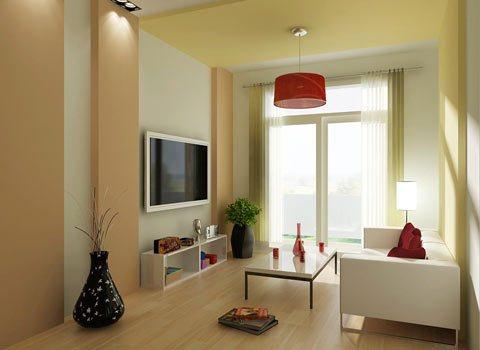Phòng khách ấm cúng và nhẹ nhàng với thiết kế cầu kỳ trần, chiếu sáng, những mảng trang trí và màu sắc phối hợp tạo ấn tượng cho mẫu thiết kế nội thất phòng khách này.