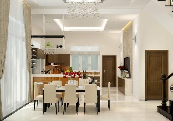 Cải tạo nhà ống, không gian bếp, bàn ăn nhỏ xinh, nơi quây quần sum họp của cả gia đình mỗi bữa ăn.
