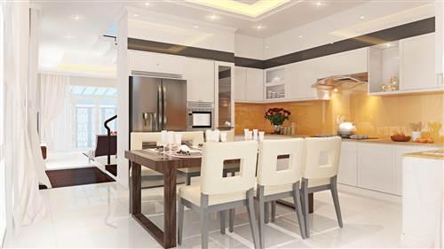 Cải tạo sửa chữa nhà phố với phòng bếp với tông màu trắng kết hợp hệ chiếu sáng được bố trí khéo léo sưởi ấm cho gian bếp.