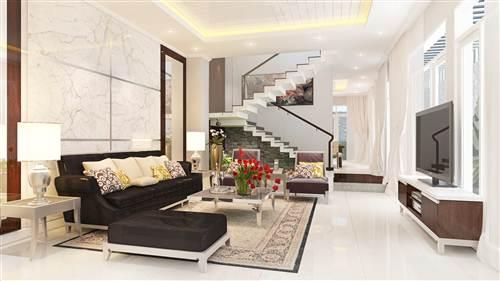 Nhà phố sửa chữa cải tạo, sáng rộng với tông màu trắng chủ đạo, nội thất sang trọng.