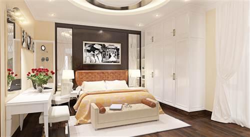 Không gian phòng ngủ của vợ chồng có tông màu trung tính hài hòa với tổng thể chung của ngôi nhà. Vật dụng nội thất giản dị mà hiện đại sau cải tạo sửa chữa nhà phố.