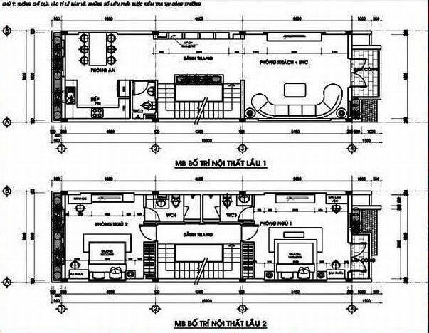 Mặt bằng thiết kế nhà tầng 1 và tầng 2