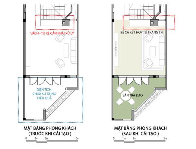 Mặt bằng phòng khách trước và sau khi tư vấn cải tạo sửa chữa nhà.