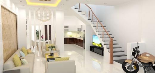 Cầu thang trong mẫu thiết kế nhà ống, được đặt ở sát một bên tường để có chỗ cho phòng khách, đồng thời giúp căn nhà rộng rãi hơn