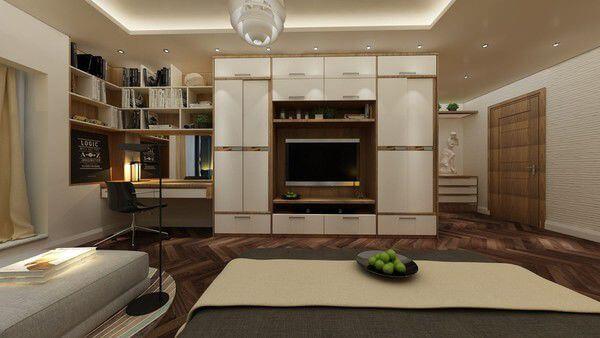 Nội thất thiết kế nhà chung cư với phòng ngủ với tone màu ấm sang trọng