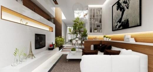 Mẫu thiết kế nội thất phòng khách này thêm ấn tượng với sofa trắng và những chiếc gối tựa có màu sậm.