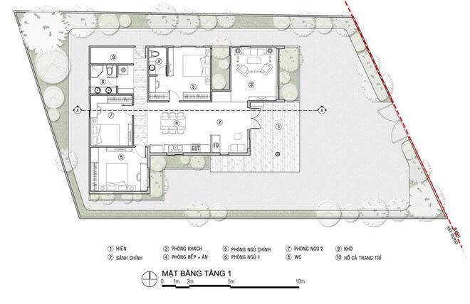 Mặt bằng thiết kế mẫu nhà một tầng.