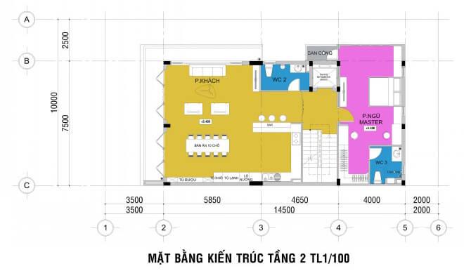Mặt bằng thiết kế nhà phố bốn tầng.