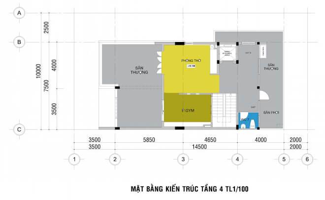 Mặt bằng thiết kế nhà phố, từ tầng hầm đến tầng 4.