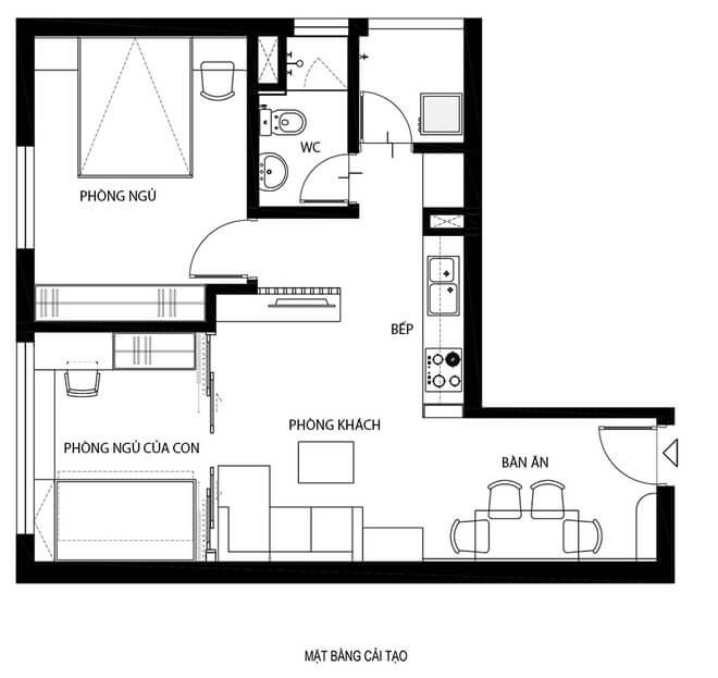 Mặt bằng tư vấn cải tạo nhà chung cư thêm phòng ngủ.