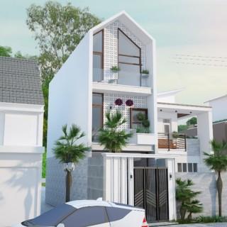 Mặt tiền ngôi nhà trong mẫu thiết kế nhà ống 3 tầng.