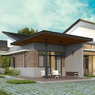 Mẫu thiết kế nhà một tầng, với ưu điểm của ngôi nhà là 4 mặt đều được tiếp xúc với thiên nhiên nên ánh sáng và thông gió rất tốt.