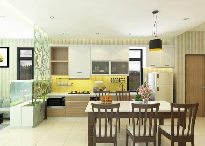Với mẫu thiết kế nhà một tầng này, không gian tiếp khách và bếp nấu được ngăn cách bởi một bể cá, vừa đảm bảo sự kín đáo và thông thoáng.
