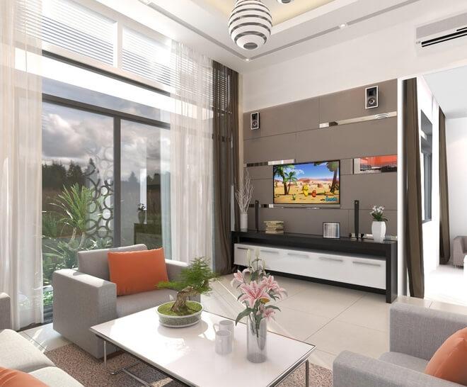 Trong mẫu thiết kế nhà một tầng này, phòng khách, phòng bếp và phòng ăn liên thông trong cùng một không gian, làm cho mọi không gian thông thoáng.