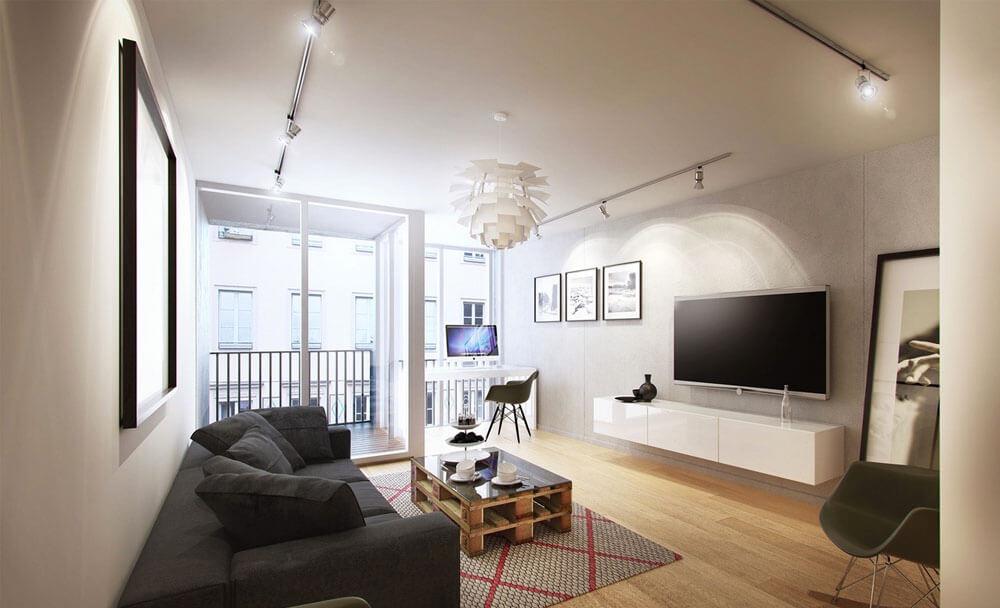 Sửa nhà với không gian phòng khách tông màu trung tính, kết hợp với bộ ghế sofa màu ghi lịch sự và sang trọng.