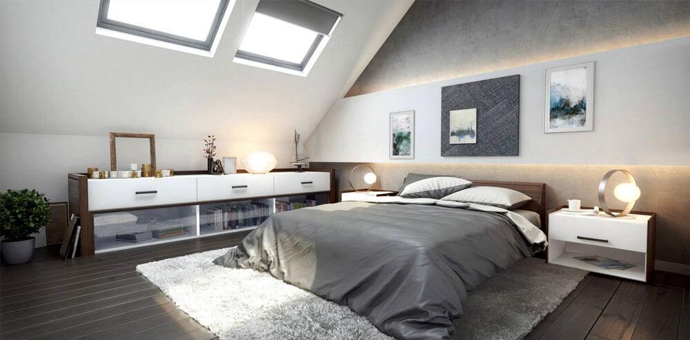 Mẹo sửa nhà với phòng ngủ master tràn ngập ánh sáng với đồ nội thất hiện đại, tinh tế.