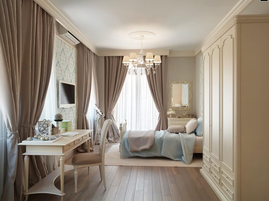 Sắc sơn nâu phòng ngủ này mang nét lãng mạn cổ điển với màu nâu tạo vẻ đẹp cân bằng cho màu xanh dương và màu kem làm điểm nhấn không gian.