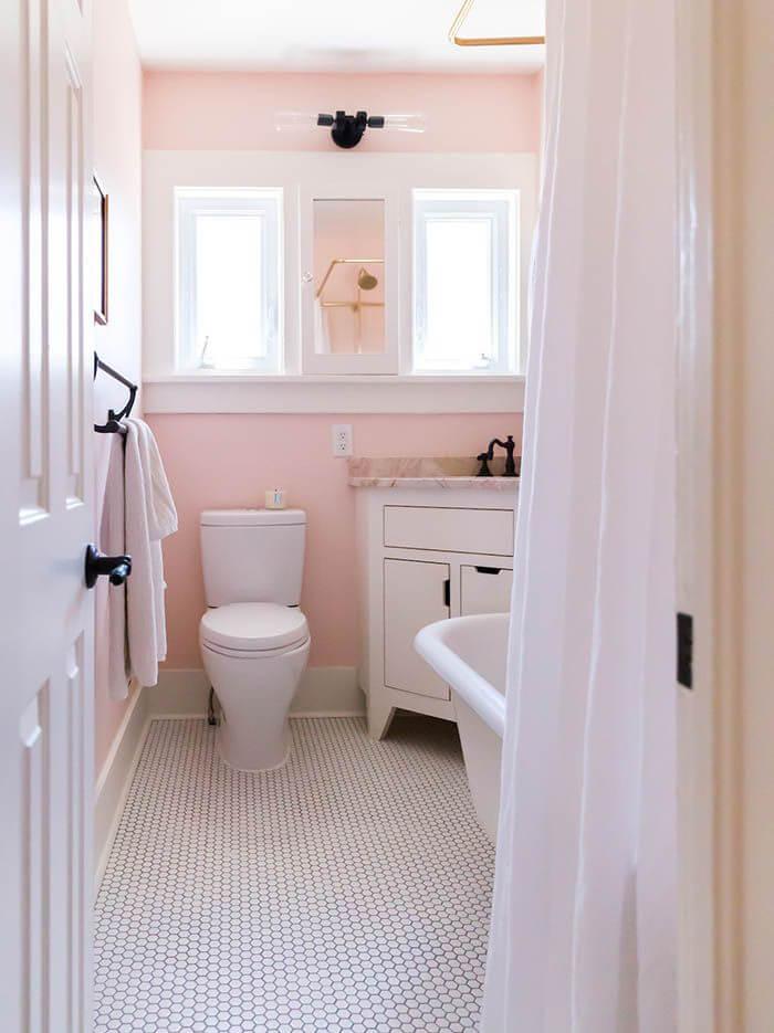 Sơn nhà màu sắc cho phòng tắm với hồng thạch anh dịu dàng mà tinh tế