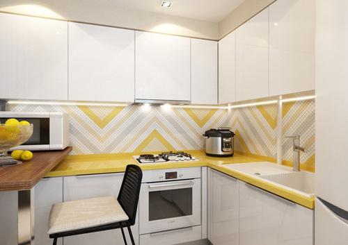 Sơn sửa nhà chung cư, với không gian bếp, tông tươi sáng, tạo cảm giác rộng rãi.