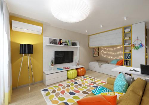 Sơn sửa nhà chung cư này có đủ sắc màu tuy nhiên lại không hề gây khó nhìn.