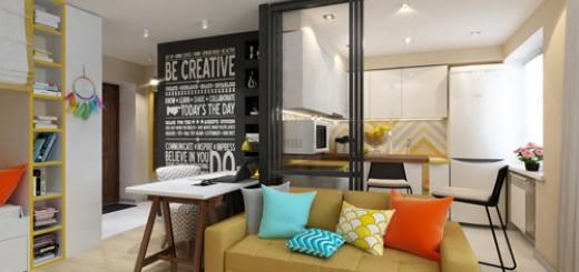 Với cửa kính kéo sẽ giúp mùi nhà bếp không ảnh hưởng tới phòng khách, sau khi sơn sửa nhà chung cư này.