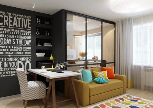 Sơn sửa nhà chung cư, phòng khách, mảng tường ghi đậm vừa là nơi đặt tủ âm tường và là góc trang trí ấn tượng.