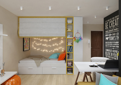 Tông màu trung tính sáng, tấm rèm kéo duyên dáng giúp phòng ngủ tách biệt với không gian bên ngoài, sau sơn sửa nhà chung cư này.