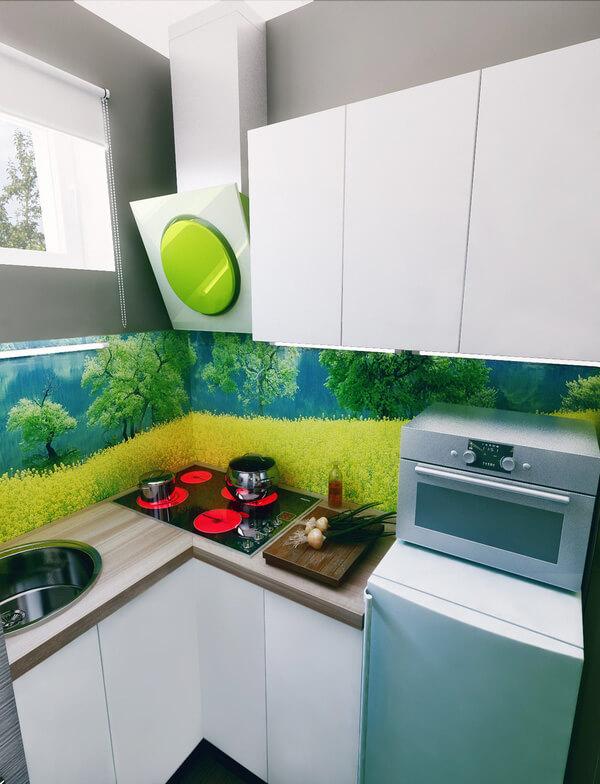 Sửa nhà chung cư, với không gian bếp siêu nhỏ nhưng đủ tiện nghi cho nhu cầu nấu nướng, không những vậy nó còn rất vui mắt và tươi mát.