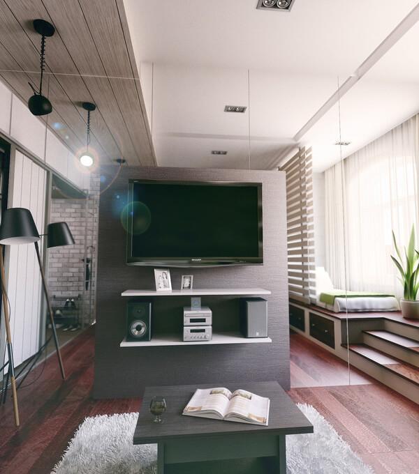 Sửa nhà chung cư, với phòng ngủ chính thoáng sáng, còn được trang bị thêm ti vi, hệ âm thanh hiện đại để giải trí nên dù nhỏ rất tiện nghi.