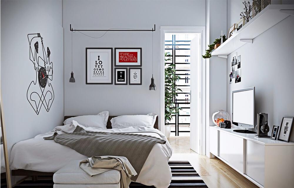 Thiết kế nội thất nhà nhỏ, với phòng ngủ con với tone màu sáng tạo cảm giác rộng rãi và thoáng mát.