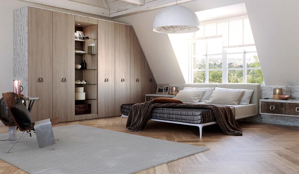 Phòng ngủ tầng lửng có diện tích khá thoải mái, trong thiết kế nội thất nhà nhỏ này.
