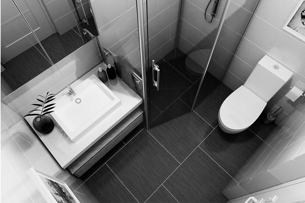 Nhà vệ sinh đơn giản sạch sẽ, trong mẫu thiết kế nội thất nhà nhỏ này.