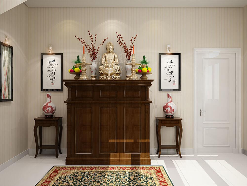 Thiết kế nội thất nhà nhỏ, hẹp. Với phòng thờ, tông màu trắng sáng.