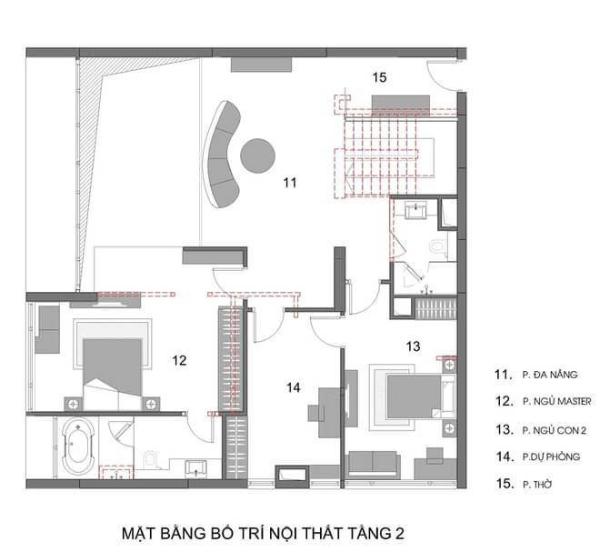 Mặt bằng tầng 1 và 2 trong mẫu thiết kế nhà chung cư 2 tầng.